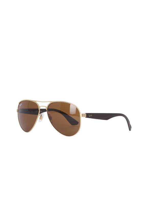 Ray Ban Highstreet Dark Brown Aviator Sunglasses