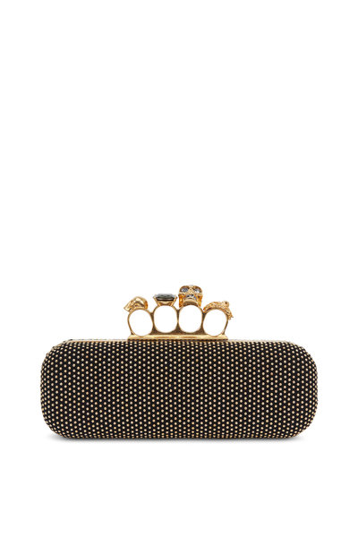 Alexander McQueen - Black Studded Suede Knuckle Box Clutch