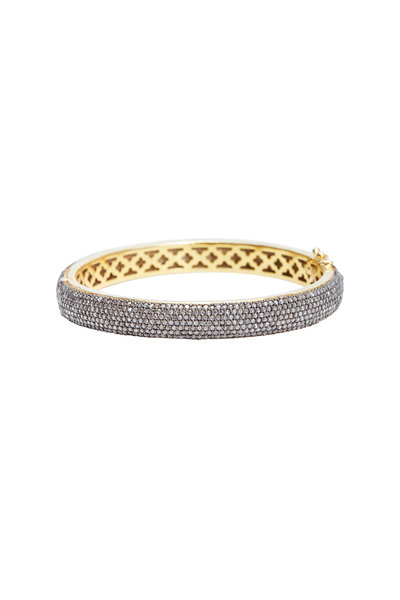 Loren Jewels - Gold & Silver Narrow Diamond Bangle Bracelet