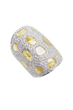 Loren Jewels - Gold & Silver Wide Cuff Diamond Bracelet
