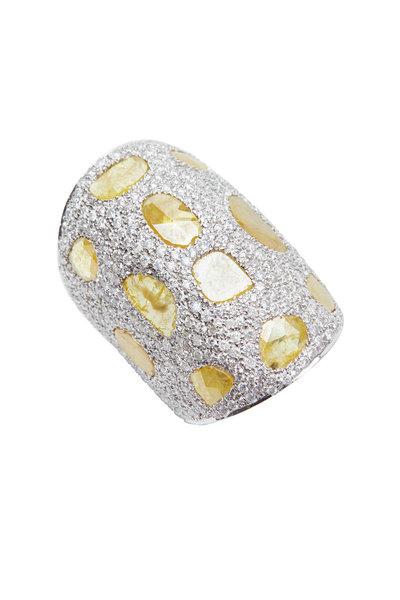Loren Jewels - Gold & Silver Wide Cuff Diamond Bracelet
