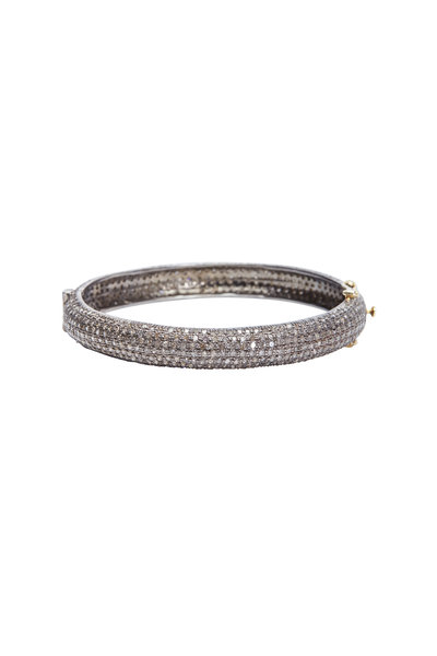 Loren Jewels - Gold & Silver Narrow White Diamond Bangle Bracelet