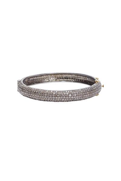 Loren Jewels - Gold & Silver Narrow White Diamond Bangle Bracelet