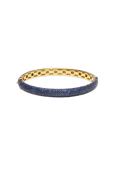 Loren Jewels - Gold Pavé-Set Blue Sapphire Bangle Bracelet