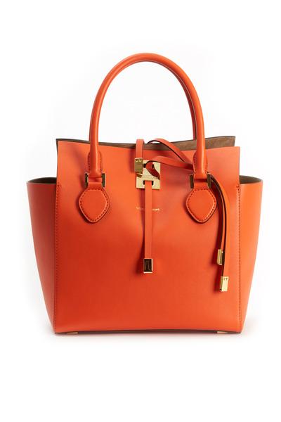Michael Kors Collection - Miranda Orange Leather Small Tote
