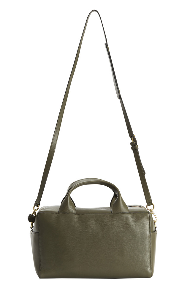 Track Military Green Milled Leather Small Satchel
