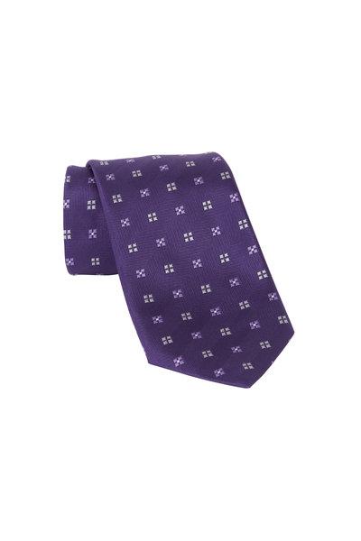 Ermenegildo Zegna - Purple Tonal Dot Silk Neckline