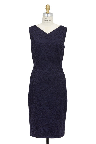 Talbot Runhof - Navy Blue Lace Sleeveless Cocktail Dress