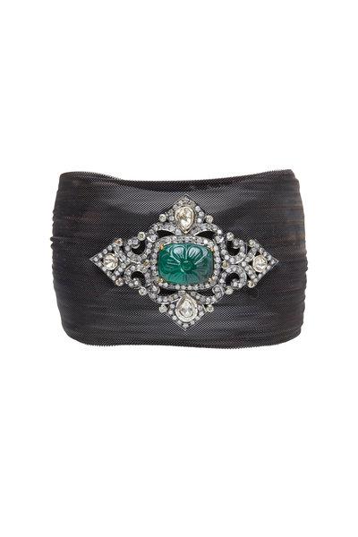 Loren Jewels - Gold & Silver Emerald Diamond Mesh Bracelet