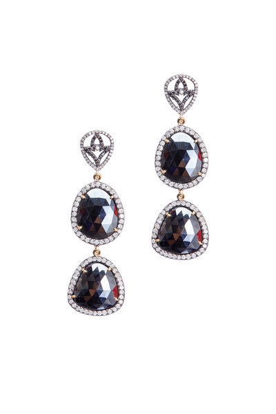 Loren Jewels - Gold & Silver Black Spinal Diamond Earrings