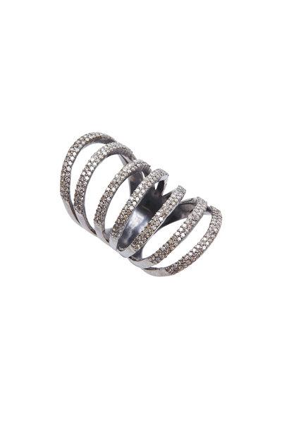 Loren Jewels - Sterling Silver Pavé-Set Diamond Ring