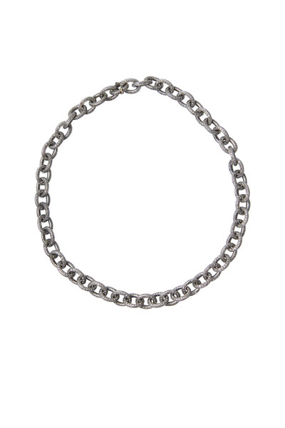 Loren Jewels - Gold & Silver Pavé-Set Diamond Link Necklace