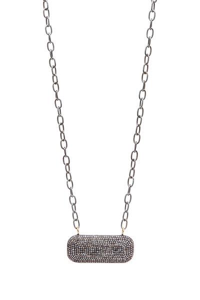 Loren Jewels - Gold & Silver Pavé Diamond Oblong Bar Necklace