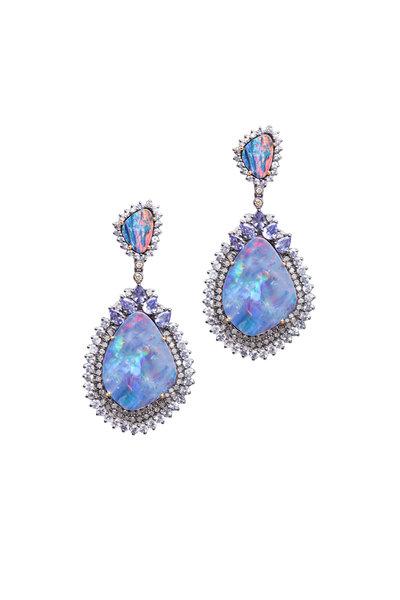 Loren Jewels - Opal Sapphire Tanzanite Diamond Dangle Earrings