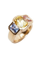 Frank Ancona - Yellow Gold Multi Color Sapphire Cocktail Ring