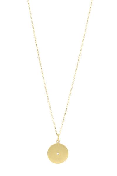 Caroline Ellen - 20K Yellow Gold Diamond Disc Pendant Necklace