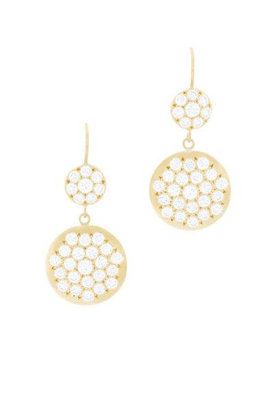 Caroline Ellen - Yellow Gold Pavé Diamond Double Drop Earrings