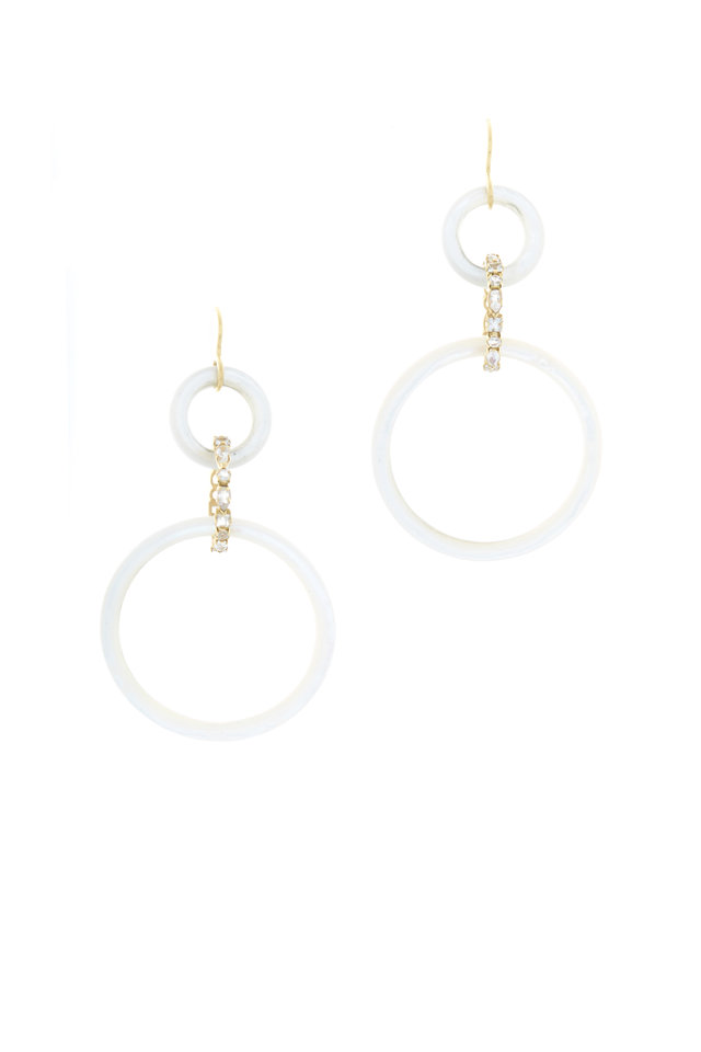 Gold Mother Of Pearl Moonstone Drop Earrings