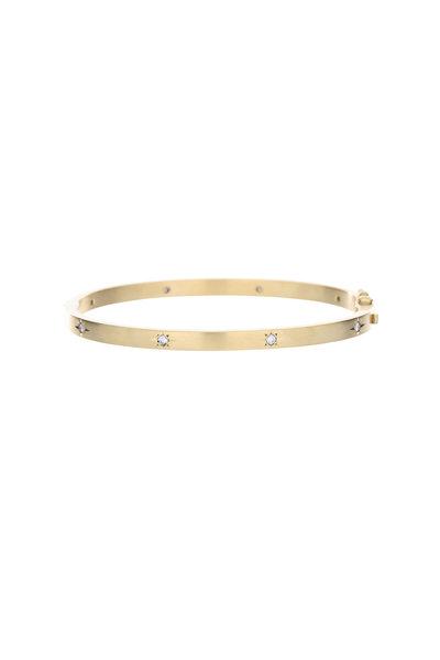 Caroline Ellen - 18K Yellow Gold Diamond Hinged Bangle