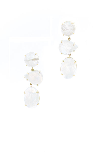 Emily & Ashley - Yellow Gold Three Tiered Moonstone Earrings