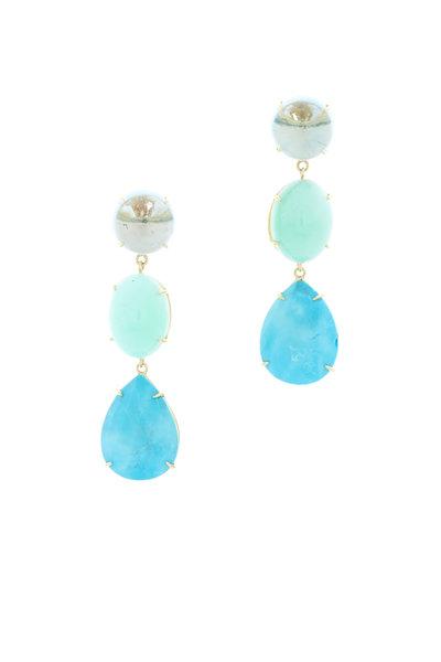 Emily & Ashley - Gold Chrysoprase Topaz & Turquoise Dangle Earrings