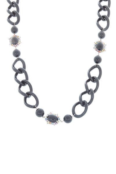 Emily & Ashley - Black Chain Ruffle Necklace