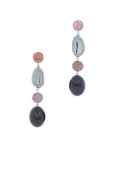 Emily & Ashley - White Gold Hematite & Sapphire Dangle Earrings