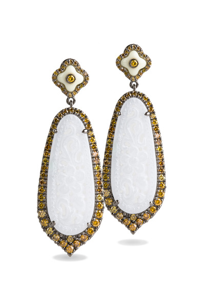 Bochic - Gold Carved Jade Earrings