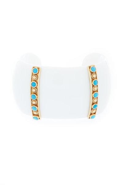 Emily & Ashley - Yellow Gold Turquoise Gemstone Cuff Bracelet