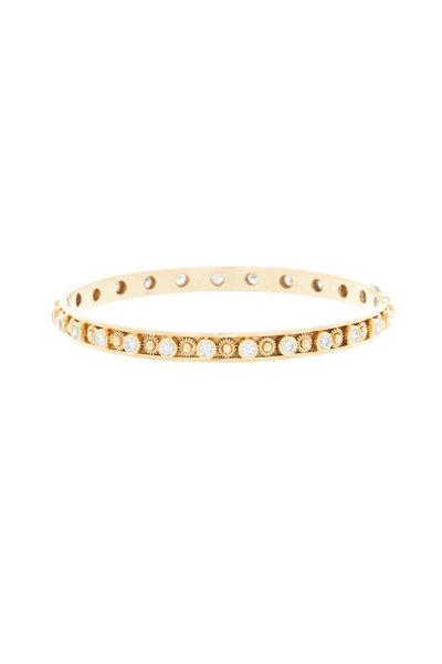 Emily & Ashley - Yellow Gold Diamond Flower Bangle Bracelet