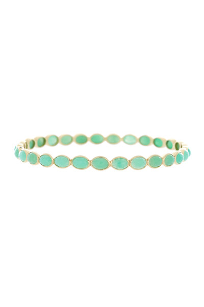 Emily & Ashley - Yellow Gold Turquoise Bangle Bracelet