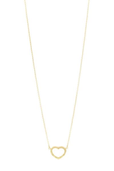 Caroline Ellen - 20K Yellow Gold Inscribed Heart Diamond Necklace