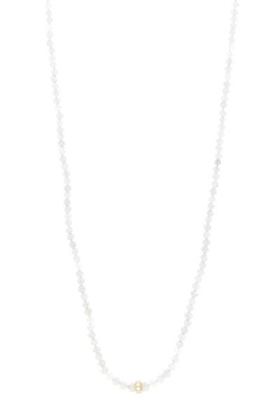 Caroline Ellen - Yellow Gold Gray Diamond Bead Necklace