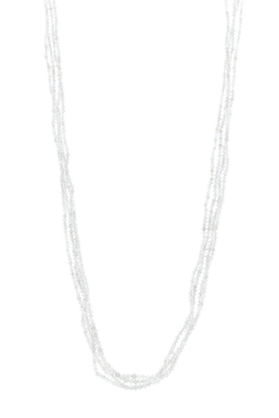 Caroline Ellen - Gold Triple Strand Gray Diamond Bead Necklace