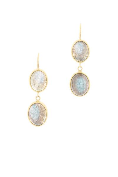 Caroline Ellen - Yellow Gold Labradorite Dangle Earrings