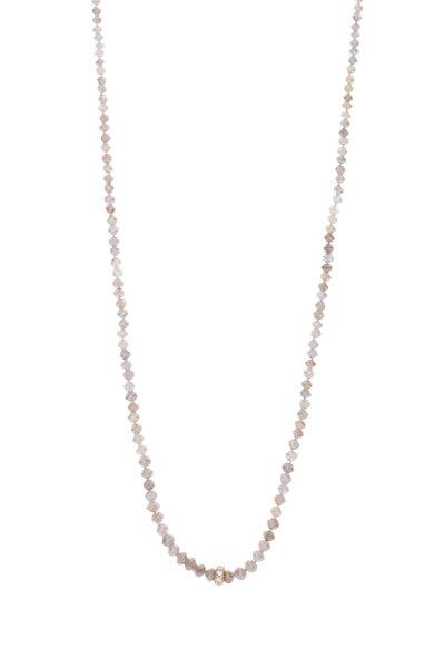 Caroline Ellen - 20K Yellow Gold Pink & Gray Diamond Bead Necklace