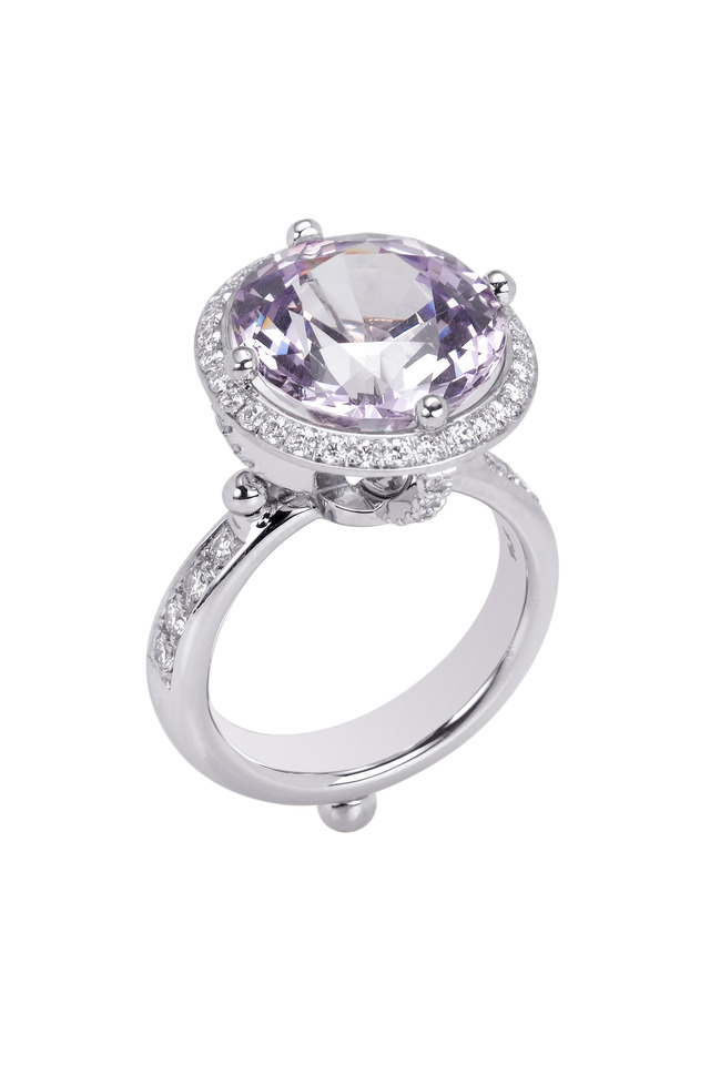 Platinum Lavender Halo One-Of-A-Kind Ring