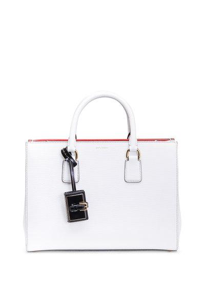 Dolce & Gabbana - Clara White Textured Leather Medium Satchel