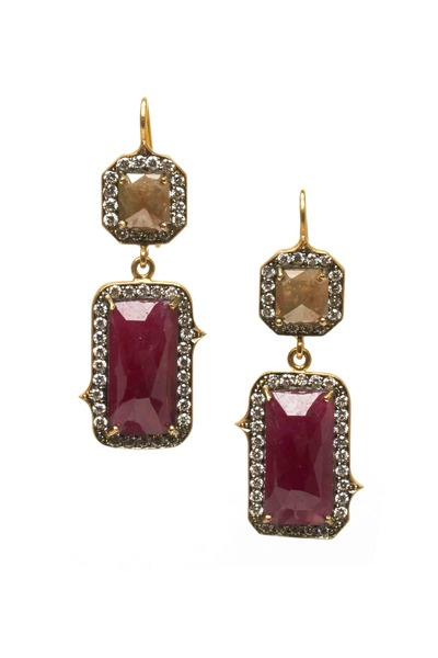 Sylva & Cie - Diamond & Ruby Drop Earrings