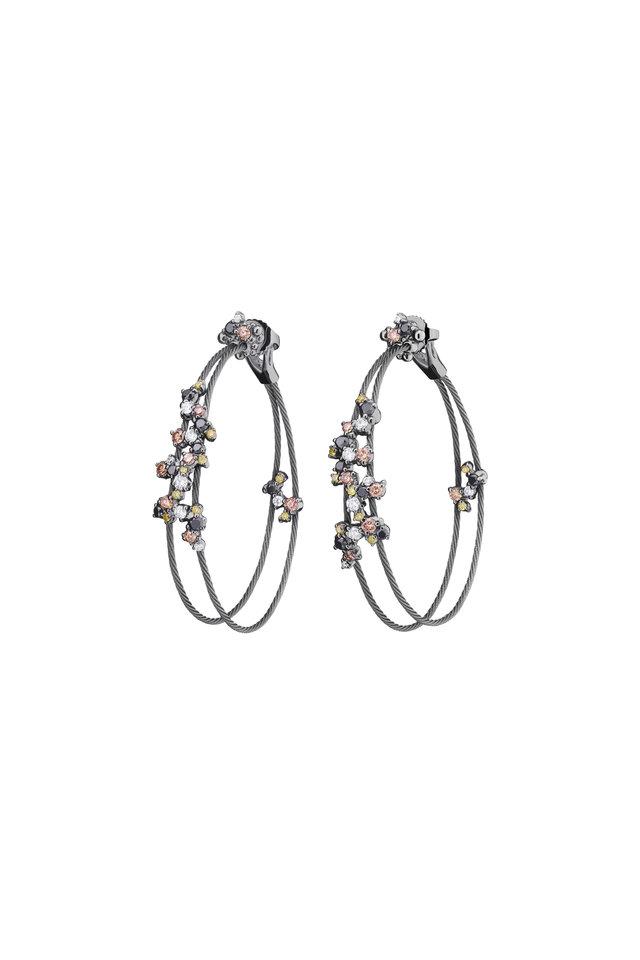 Gold Confetti Diamond Double Wire Earrings