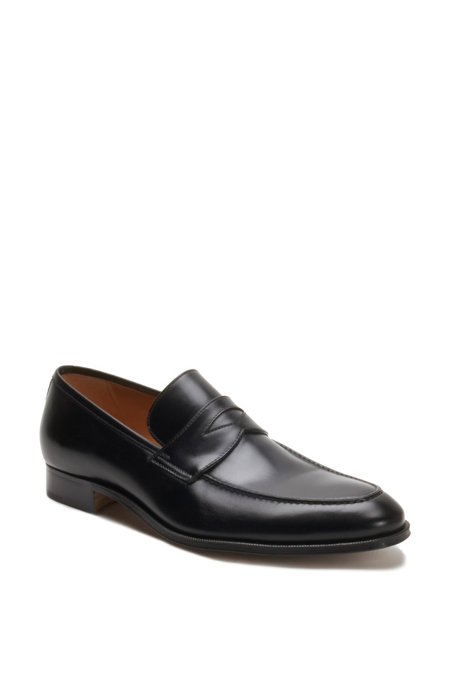 Black Leather Penny Loafer