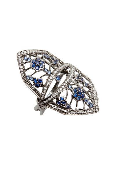 Bochic - Gold Blue Sapphire Diamond Flower Shield Ring
