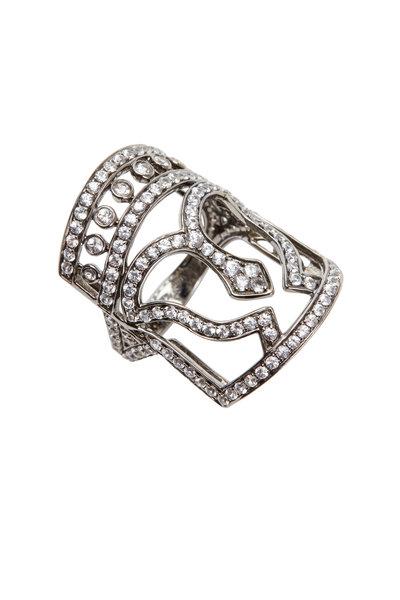Bochic - White Gold White Sapphire Mask Ring