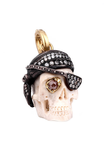 Sylva & Cie - Gold & Silver Pirate Skull Diamond Pendant