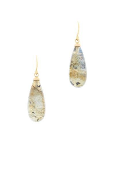 Caroline Ellen - Yellow Gold Rustic Labradorite Drop Earrings
