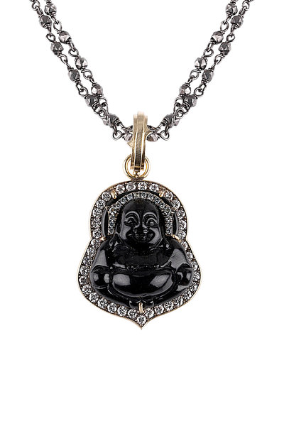 Sylva & Cie - Yellow Gold Black Jade Diamond Buddha Pendant