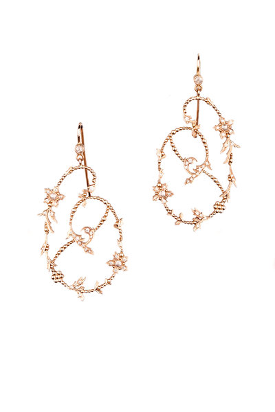 Sylva & Cie - 14K Rose Gold Botanical Diamond Earrings