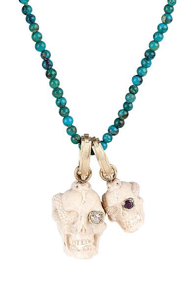 Sylva & Cie - Gold & Ivory Ruby & Diamond Skull & Snake Pendant