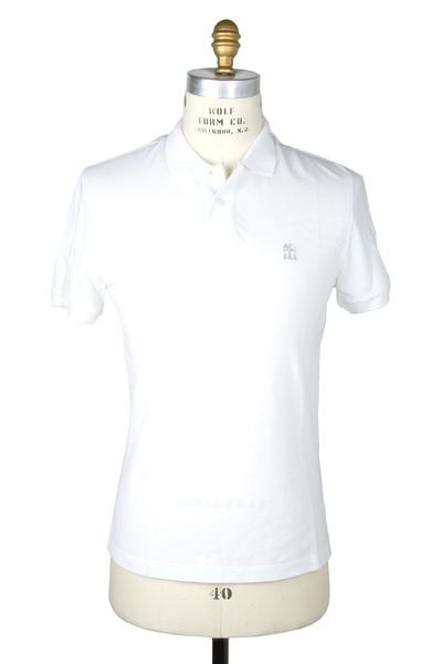 Brunello Cucinelli - White Piqué Polo