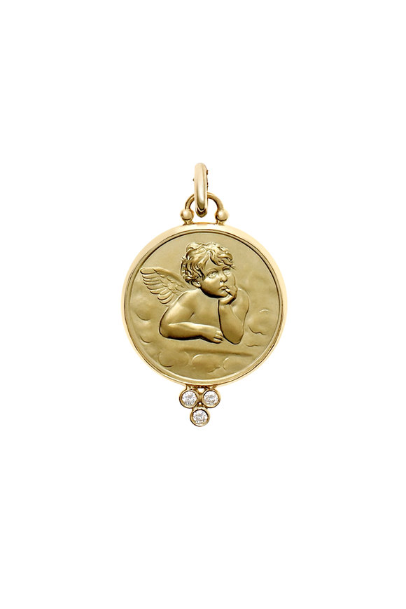 Temple St. Clair 18K Yellow Gold Diamond Angel Pendant